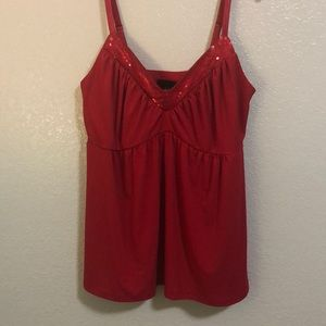 TORRID SIZE 2 RED DRESSY TANK/CAMI SEQUINED NECK